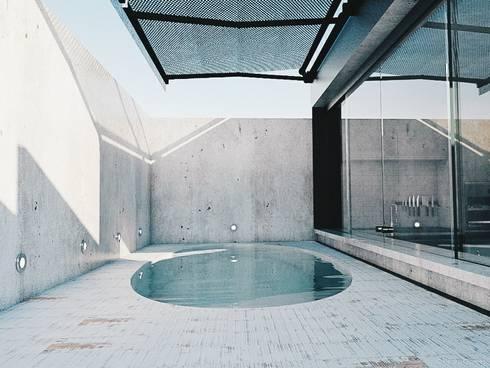 Área de Lazer Bonatto: Piscinas industriais por 285 arquitetura e urbanismo