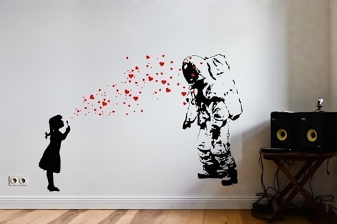 banksy streetart wandsticker von urban art berlin homify. Black Bedroom Furniture Sets. Home Design Ideas
