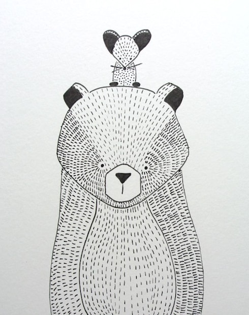 handmade illustratie beer kinderkamervintage:  Kinderkamer door Kinderkamervintage