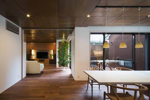 1階ダイニング・キッチン: 一級建築士事務所シンクスタジオが手掛けたリビングです。