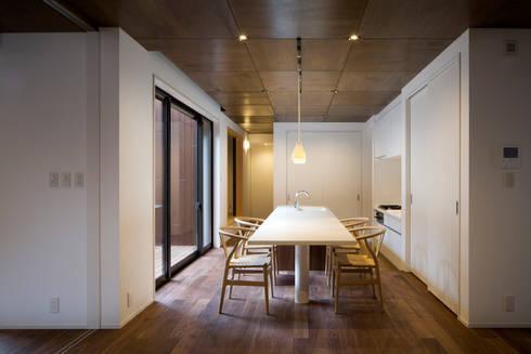 1階ダイニング・キッチン: 一級建築士事務所シンクスタジオが手掛けたダイニングです。
