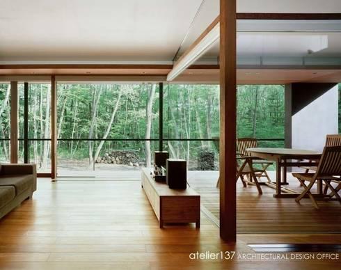 リビングとインナーテラス~015軽井沢Tさんの家: atelier137 ARCHITECTURAL DESIGN OFFICEが手掛けたリビングです。