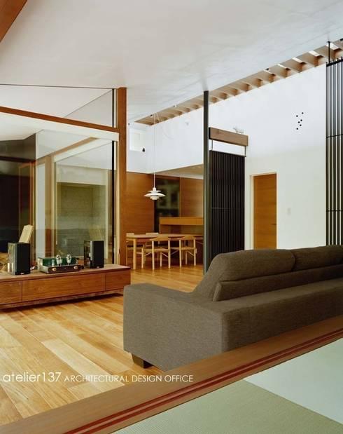 リビング~015軽井沢Tさんの家: atelier137 ARCHITECTURAL DESIGN OFFICEが手掛けたリビングです。