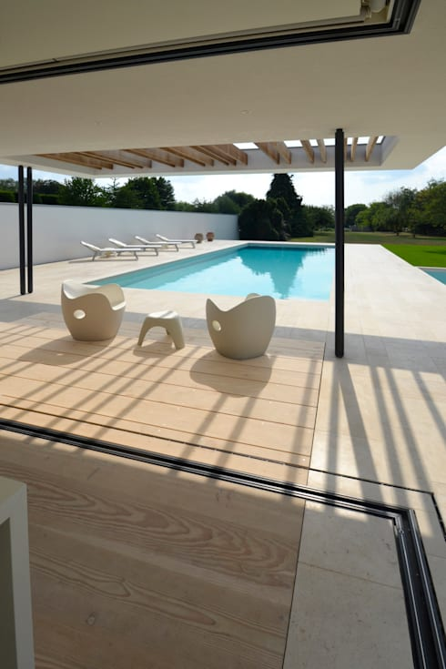 River House - External view of canopy, pool and garden:  Pool by Selencky///Parsons