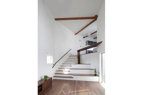 ロの字の家 リビング: 腰越耕太建築設計事務所が手掛けたリビングです。