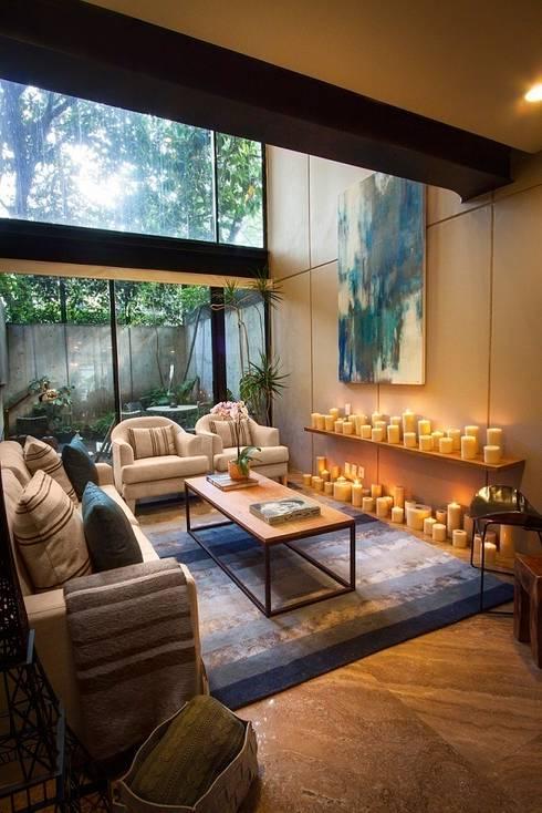 Departamento Tres Picos: Salas de estilo moderno por Concepto Taller de Arquitectura