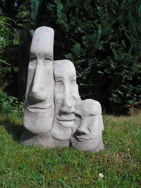 großer Maoi - Osterinselkopf: rustikaler Garten von Steinfiguren Lessmann