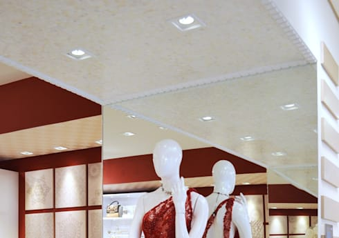 JOALHERIA DESIGN - CASA COR SP 2015 - BRASIL - Teto em Madrepérola: Lojas e imóveis comerciais  por Adriana Scartaris design e interiores