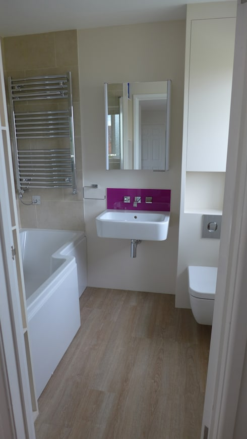 Shower bath and wall-mounted suite.   : modern Bathroom by Style Within