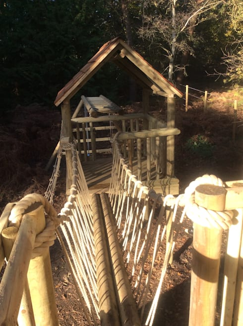 Bespoke Treehouse And Climbing Frame System In The Autumn