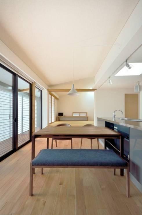 小さな平屋: 岩田建築アトリエが手掛けたリビングです。
