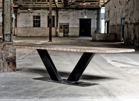 Industriele tafel v poot door restylexl homify - Tafel eetkamer industriele ...