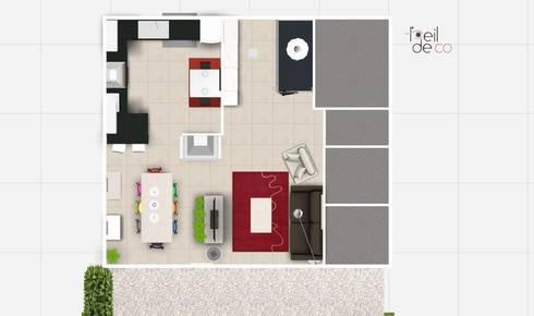 décoration d'un séjour, salle à manger avec cuisine ouverte, à ... - Plan De Cuisine Ouverte Sur Salle A Manger