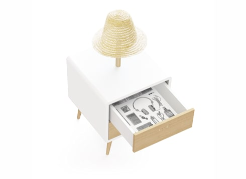 NEL bedside table with lamp (drawers' interior of the standard option): Casa  por DAM