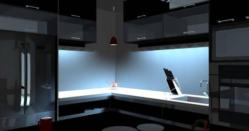 Diseño y modelado 3D cocina integrada, vivienda residencial : Cocinas de estilo minimalista por Mayarik