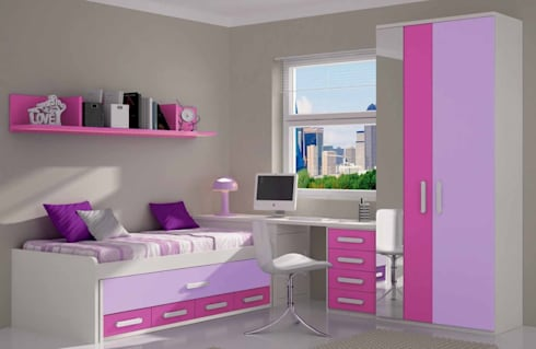 Dormitorio infantil completo rosa malva por crea y decora - Dormitorio malva ...