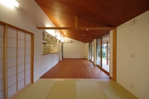 大屋根の家: 徳永建築事務所が手掛けたリビングです。