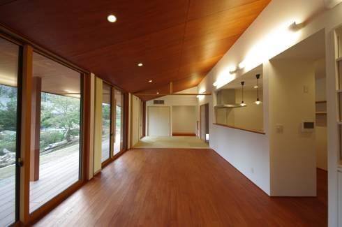 大屋根の家: 徳永建築事務所が手掛けたダイニングです。