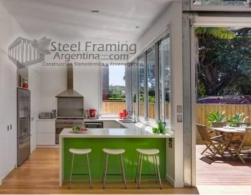 Interiores de Casas en Steel Framing: Cocinas de estilo moderno por Steel Framing Argentina