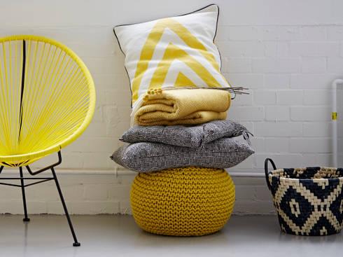 Yellow Chevron Cushion: Eclectic Living Room By Rigby U0026 Mac