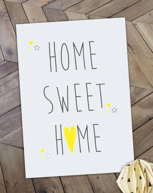 """Affiche """"Home Sweet Home"""", idéal pour une petite déco sympa: Salle à manger de style  par Suite Créative"""