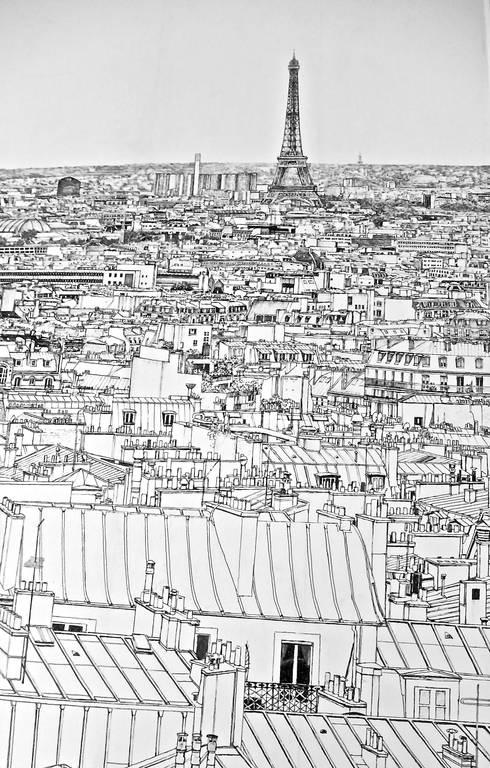 Détail papier peint Paris.: Chambre d'enfant de style  par Fella DESPRES, Décoration D'intérieur.