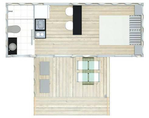 Planta Baixa - BOX COMPACTO – módulo1 : Casas industriais por SustentARQ Studio