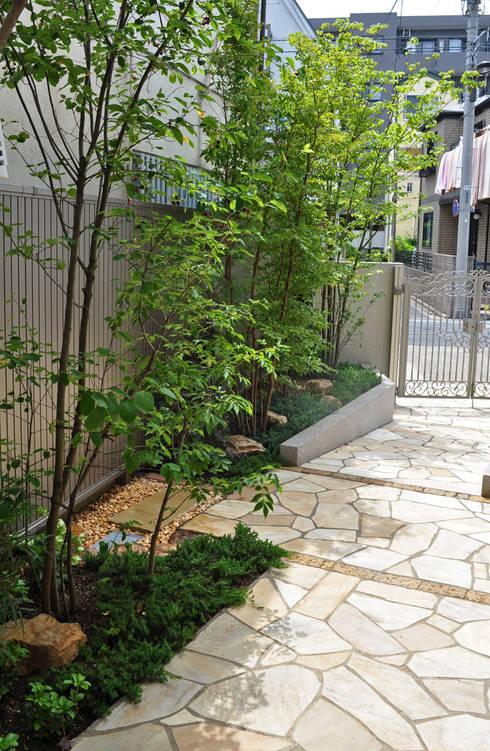 木陰とアプローチの明暗: 新美園が手掛けた庭です。