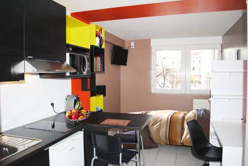 am nagement d 39 un studio de 18m de adeline guillemot homify. Black Bedroom Furniture Sets. Home Design Ideas