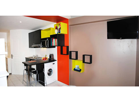 am nagement d 39 un studio de 18m par adeline guillemot homify. Black Bedroom Furniture Sets. Home Design Ideas