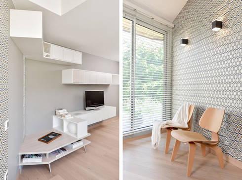 Modern living room by marion lanoë architecte dintérieur