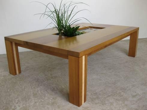 Table basse design en bois d\'iroko et frêne avec son jardin, casier ...