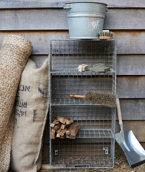 Wire locker bootroom shelf: industrial Living room by brush64