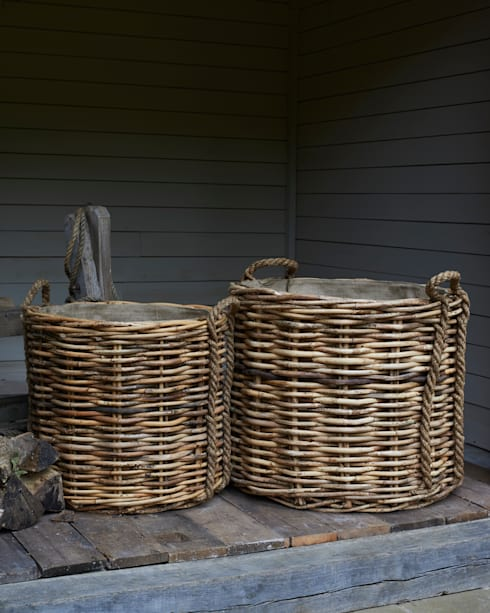 Very large rattan log baskets - rope handles:  Living room by brush64