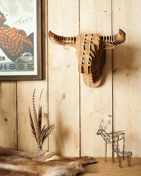 laminated walnut bull head trophy.: modern Living room by brush64