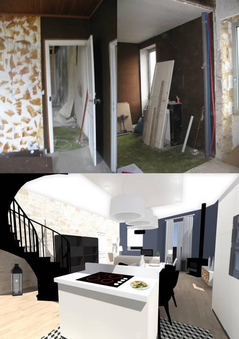 Vue sur le séjour: Salon de style  par Uniq intérieurs