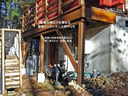 屋外住宅機器は目立たない面に集約: Cottage Style / コテージスタイルが手掛けた家です。