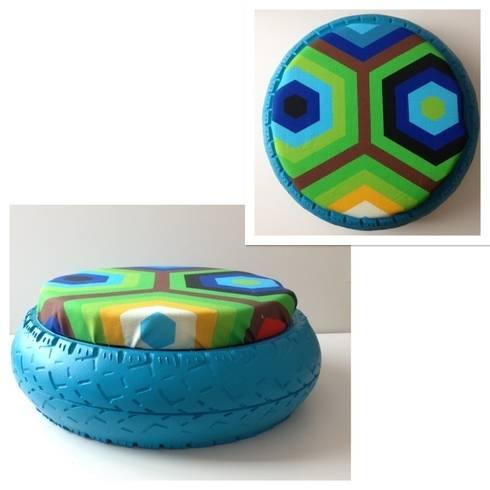 pouf en pneu recycl de le designer du recyclage homify. Black Bedroom Furniture Sets. Home Design Ideas