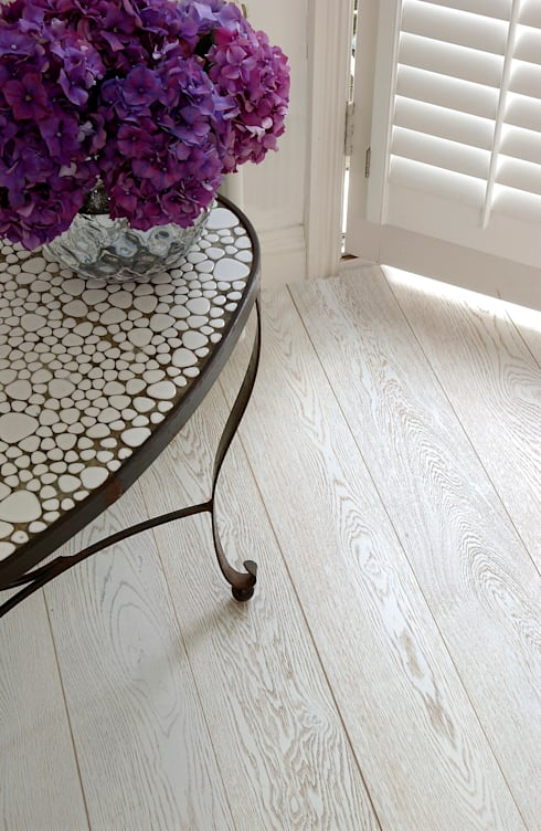 Oak White-Wash Pre-lacquered:  Walls & flooring by The Natural Wood Floor Company