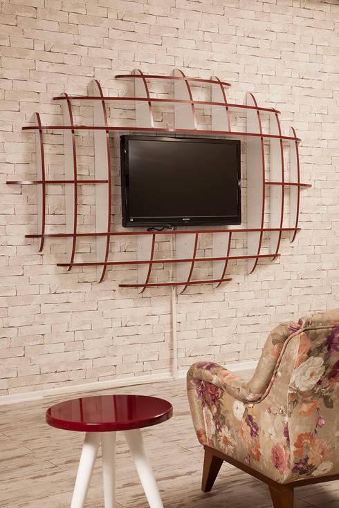 Sanal Mobilya – Elips TV Ünitesi ve Kitaplık:  tarz Oturma Odası