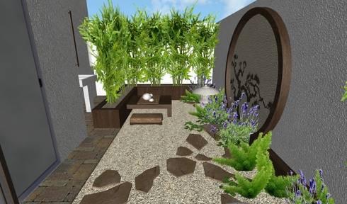 jardín oriental - vista lateral: Jardines de estilo asiático por Zen Ambient