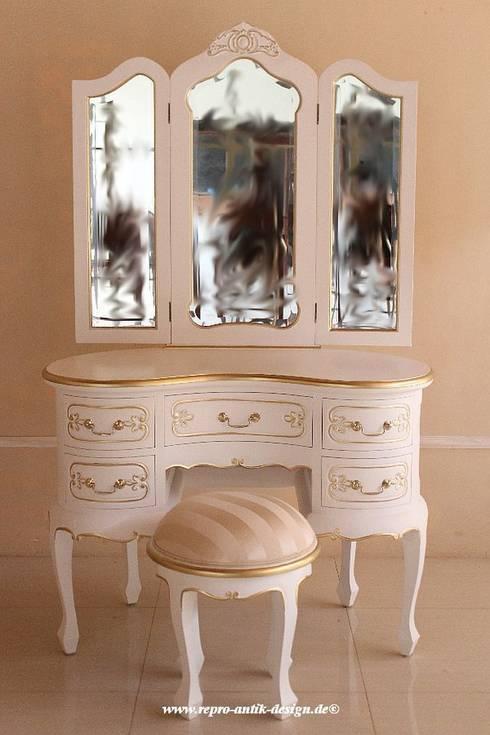 Barock Schminktisch/Frisiertisch RDM 003-110 aus Mahagoni Massivholz, handgearbeitet, Antik-weiß mit Golddekor: klassische Schlafzimmer von Repro Antik Design GmbH & Co. KG