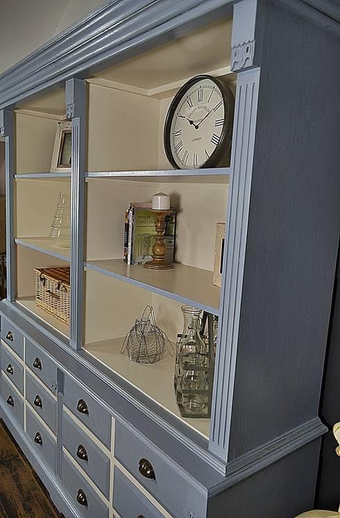 Large James Blue Farmhouse Kitchen Dresser With Drawer Storage