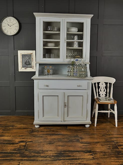 Shabby Chic Pastel Blue & Grey Antique Pine Kitchen Dresser:  Kitchen by The Treasure Trove Shabby Chic & Vintage Furniture