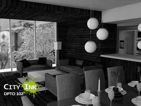 Estancia apartamento:  de estilo  por City Ink Design