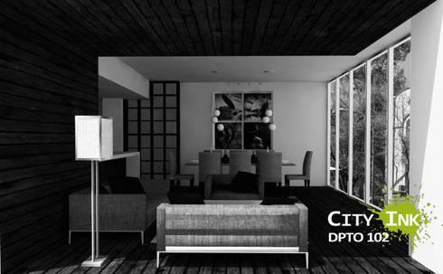 Vista comedor y estancia.:  de estilo  por City Ink Design