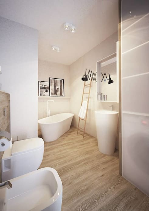 Projekt mieszkania we Wrocławiu: styl , w kategorii Łazienka zaprojektowany przez COI Pracownia Architektury Wnętrz