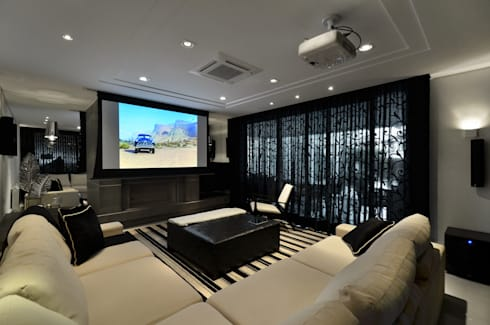Casa Contemporânea: Salas multimídia modernas por Johnny Thomsen Design de Interiores