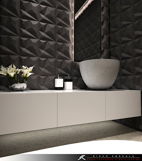 SK ARCHITECTURAL VISUALIZATION – MINIMALIST BANYO (MINIMALIST BATHROOM):  tarz Banyo