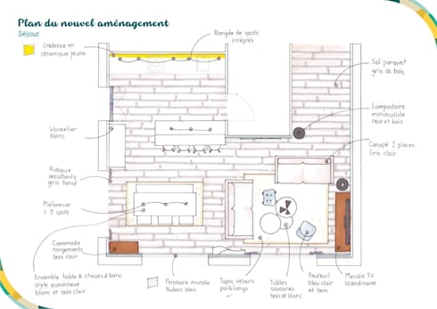 Proposition de nouvel aménagement: Salon de style de style Scandinave par Angèle Ethuin - Designer d'intérieur & Coloriste